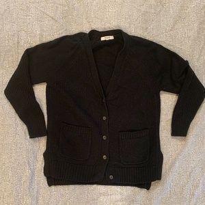 Madewell Black Texturework Sweater Cardigan